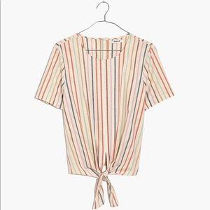 Madewell Button-Back Tie Tee, Rainbow Stripe - NWT